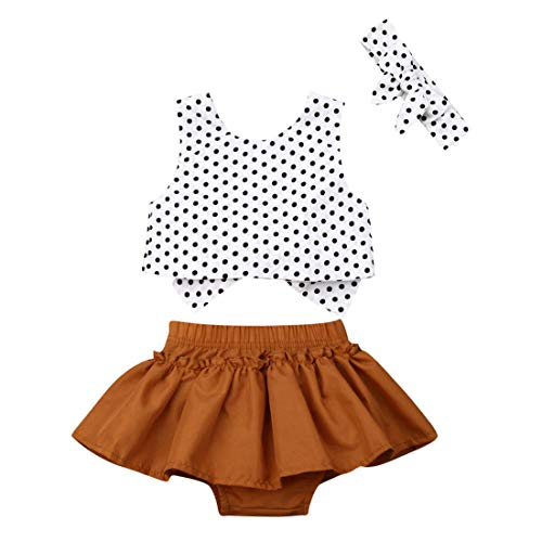 (Newborn Baby Girls 3 Pieces Outfit Polka Dot Bow Tie Back Sleeveless Tops Ruffle Skirt Bloomer Bowknot Headband Set (White, 80(6-12M)))