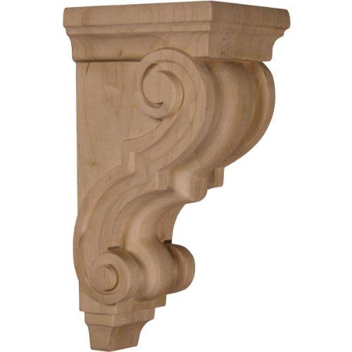 Ekena Millwork CORW05X05X10TRRO 4 1/2-Inch W x 5-Inch D x 10-Inch H Medium Traditional Wood Corbel, Red Oak (Corbel Wood Traditional)