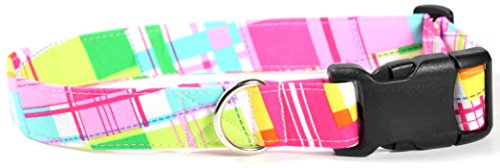 Lily Pad Plaid, Pink Summer Shirt Pattern Designer Dog Collar, Adjustable Handmade Fabric Collars (L)