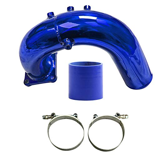 (JX-Trading High Flow Intake Elbow Tube Blue fit 2003-2007 Dodge Ram 5.9L Cummins)