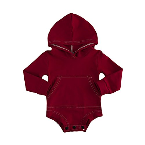 BELS Baby Boys Girls Hoodies Top Romper Jumpsuit with Pocket Clothes 36M Wine Red