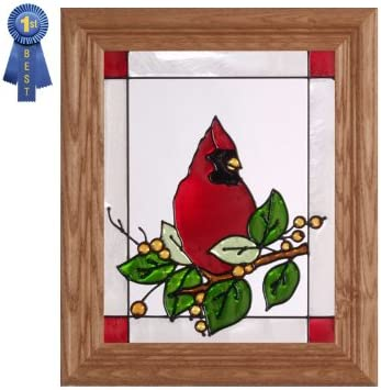 Cardinal and Berries, Vertical Stained Glass Panel