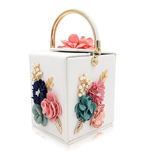 Women Evening amp;OS Shape Square Bag ZJ Vintage Bags Flower Clutch Purse Party Tote Wedding white Clutches qg85T
