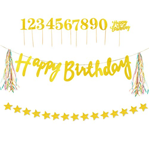 "Golden Celebration Favor Cake - Birthday Party Decorations Set - ""Happy Birthday"" Banner with Neon Tassels, Golden Bunting Decoration, Birthday Party Supplies, Includes Cake Toppers and 1 Star Garland String"
