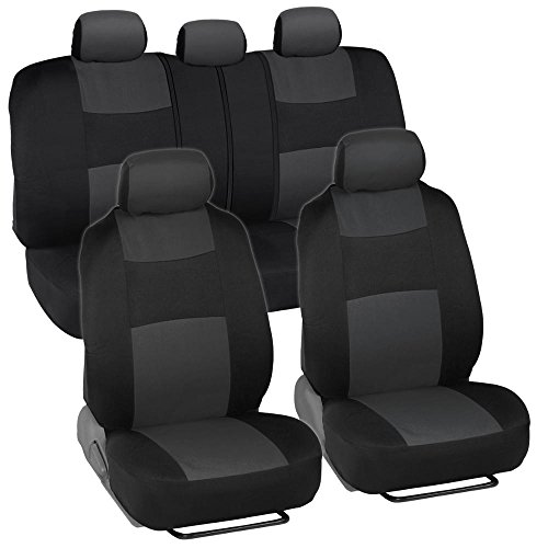 BDK PolyCloth Black/Charcoal Gray Car Seat Cover - Easy Wrap Two-Tone Accent for Auto - Split Bench