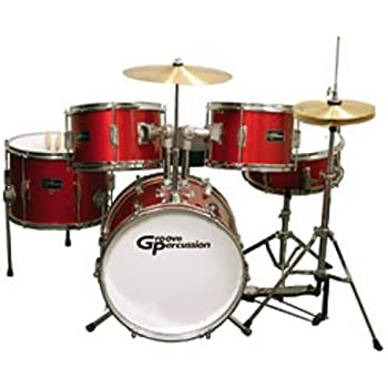 groove percussion jr200 5 piece children 39 s drum set with hardware and cymbals red. Black Bedroom Furniture Sets. Home Design Ideas