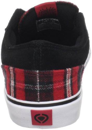 C1rca Mens Easy Skate In Pelle Ryder Scarpa Plaid Nero / Rosso
