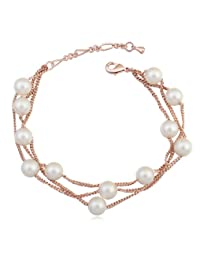 Multi Strand Bracelet with Swarovski Crystal Simulated White Pearls 18 ct Rose Gold Plated for Women 7.6""
