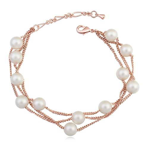 Multi Strand Bracelet with Swarovski Crystal Simulated White Pearls 18 ct Rose Gold Plated for Women ()