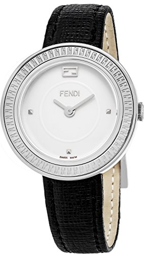 Fendi MyWay Women's-large Stainless Steel White Face Black Leather Swiss Watch F354034011 by Fendi