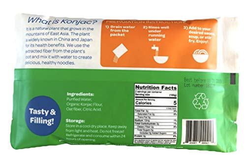 Organic Well Lean Fettuccine, 6 Pack, 9.52 oz, Premium Shirataki Konjac Pasta, Odor Free, Keto Friendly, Non Gmo, Ready to Eat, Low Calorie, Low Carb, Gluten Free, Soy Free, Vegan, Diet Food