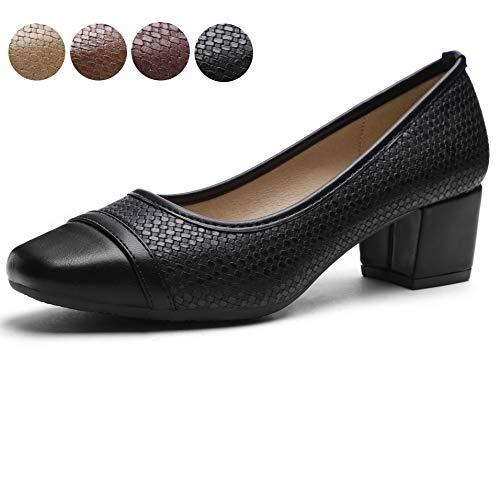 Pumps for Women Chunky Heels Black