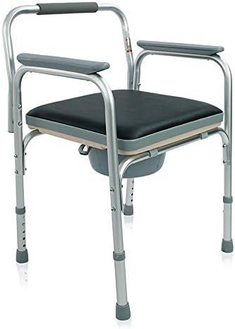 Wei Jun ポータブル便器の椅子、ホーム高齢者、妊婦、片麻痺軽量トイレチェア付きの調整可能ベッドサイド便器椅子、アルミ合金 /-/-/ (Color : A)