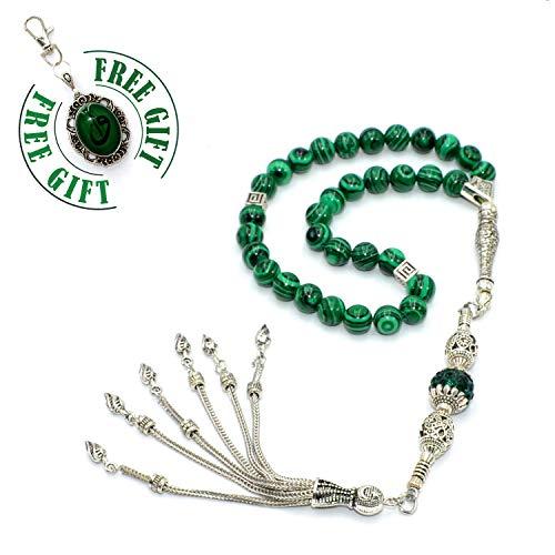 (Free Gift) Green Malachite Stone Prayer Beads (33 Beads) Tesbih-Tasbih-Tasbeeh-Misbaha-Masbaha-Subha-Sebha-Sibha-Rosary-Worry Beads ()
