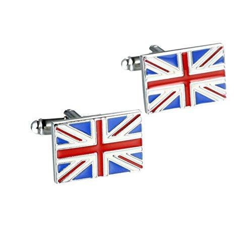 Demarkt British Flag Enamel Cufflinks for Men Business Wedding 1 (British Flag Cufflinks)