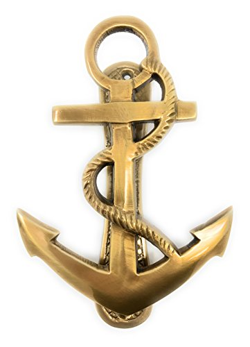 Madison Bay Company Nautical Ship's Anchor Antiqued Brass Door Knocker, 6.25 Inches Tall