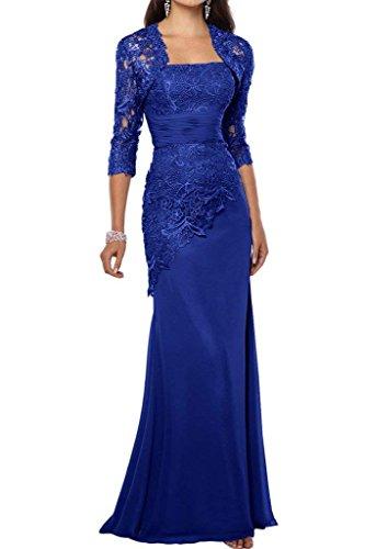 Schnitt Charmant Promkleider Elegant Lang Brautmutterkleider Abendkleider Blau Blau Royal Damen Satin Schmaler Partykleider vUvTrCwq