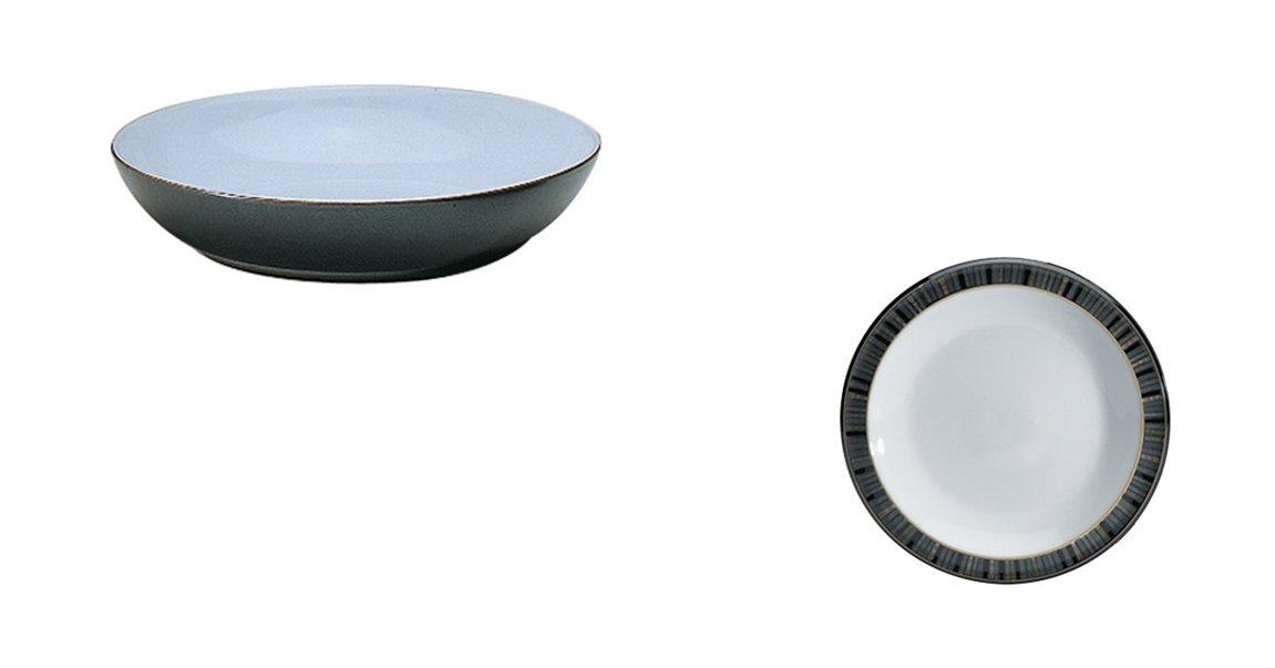Denby Jet Black Pasta Bowl and Tea Plate, Set of 2