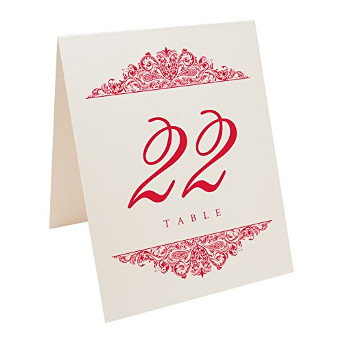 Ruby Champagne (Paisley Table Numbers, Champagne, Ruby Red, Numbered 1 through 75)