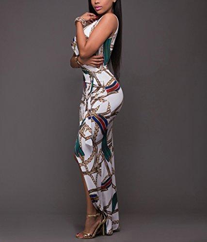 Minetom Mujeres Verano Elegante Moda Cuello En V Sin Mangas Vestido de Playa Retro Floral Impresión Irregular Largo Maxi Vestir Blanco