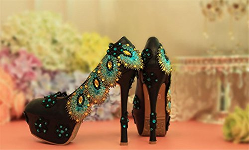 MNII Ladies Court Shoes Rhinestones Flowers Blue Black Gem Diamond Wedding Dress Party Bride High Heels Pump Stiletto Shoes, 42, Good Quality