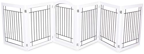 Internet's Best Indoor Dog Gate with Door | 6 Panel | 30 Inch Tall | Enclosure Kennel Pet Puppy Safety Fence Pen Playpen | Durable Wooden and Wire | Folding - Fence Wire White