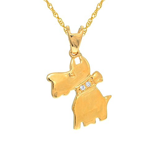 JewelStop 14K Real Yellow Gold Schnauzer Dog Charm Pendant Necklace - 18