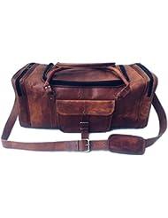 Genuine Leather Vintage 24 inch round Zip Duffel bag Overnight Bag Cabin Bag Carry On Sports Duffel Weekender...