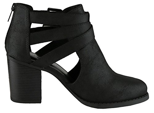 Heel Cambridge Bootie Black Ankle Out Buckle Select Pu Cut Side Chunky Stacked Women's nv8vrSwxqf