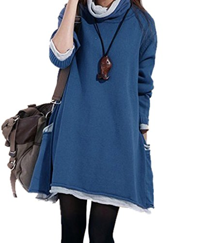 MedeShe Women's Long Sleeved Cotton Knitted Sweater Pull Over (US 18, Blue)