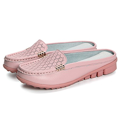 gracosy Women Leather Flats Backless Loafer Shoes, Ladies Slip On Closed Toe Mules Clogs Sandals Casual Comfy Breathable Hollow Out Walking Indoor Outdoor Slippers Moccasin Shoes Size Pink