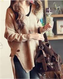 Solid V Collar Loose Wool Women Sweater