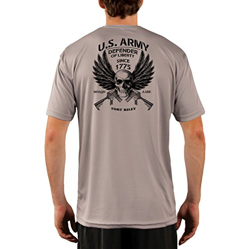 Fort Riley Army Base (Dead Or Alive Clothing U.S. Army Fort Riley Men's UPF 50+ Short Sleeve T-Shirt Medium Athletic Grey)