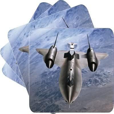 New Set of 4 Sr71 Blackbird Spy Plane Square Coasters
