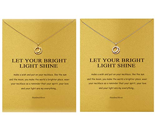 Hundred River Sister Necklace Moon and Sun Necklace with Message Card Gift Card(2 Moon and -