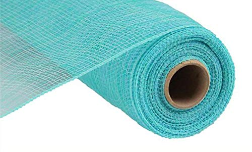 Multi Stripe Deco Poly Mesh Ribbon - 10 inch x 30 feet (Light Blue, -