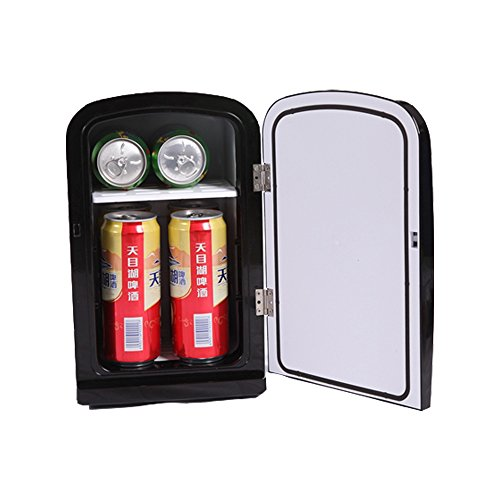 Docheer Electric Mini Fridge 6 Liters 8 Cans Portable Thermoelectric Cooler and Warmer System Mini Refrigerator DC12V AC110V for Car Bedroom,Office or Dorm (6 L - Black)