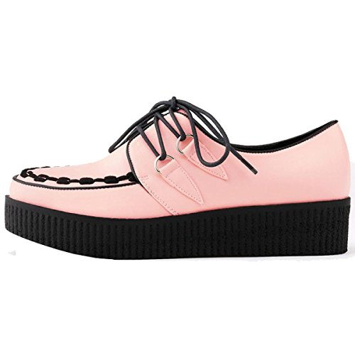 Loslandifen Womens Matt Leather Platform Lace Up Womens Flats Creepers Punk Shoes Pink RRq2D0J4jt