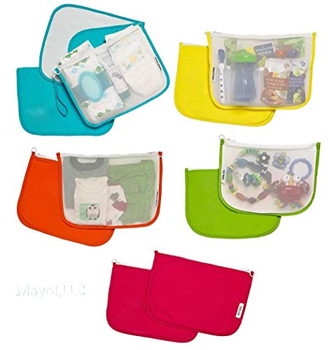 Diaper Bag Organizer Pouches, a 5-pc Set for Diapers, Wet Bag, Clothes, Snacks, Toys, Machine Washable Multi-Bag Organizer & Wrist-let. A Mommy Must Have for All Babies Needs! USA! ()