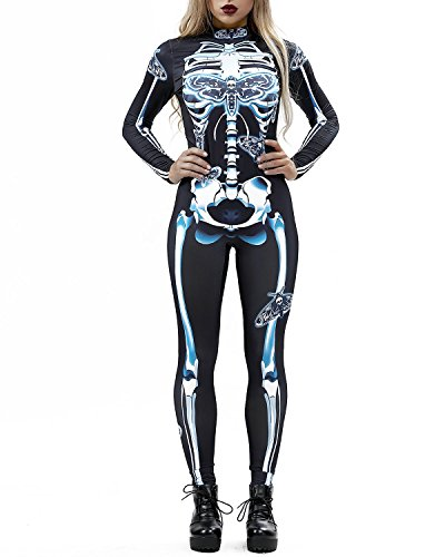 Women 3D Style Halloween Cosplay Costumes Jumpsuit Bodysuit (Small, White Skull)]()