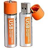 ECVISION 大容量USB充電電池 USBバッテリー  1.5Vリチウム充電式電池 本体USB付き充電器不要 単三電池2本入り
