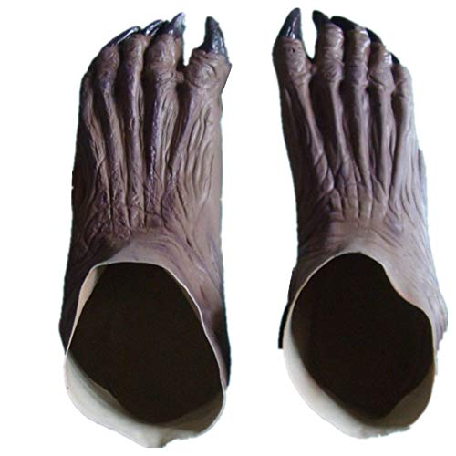 bierboyisi Halloween Horror Monster Devil Vampire Ghost Zombie Latex Feet Shoes Costume Cosplay Props Gray]()