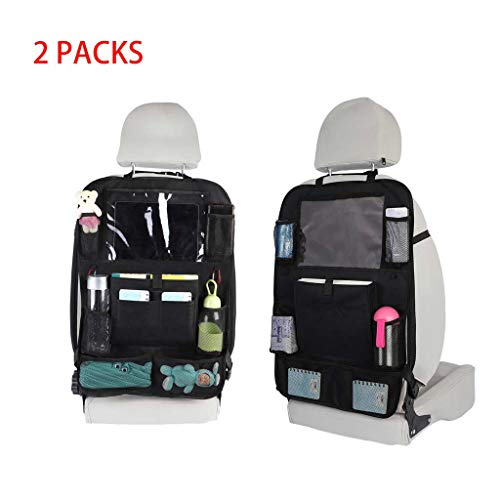 AutumnFall 2PC Backseat Car Organizer Kick Mats Car Back Seat Protector with Tablet Storage Bag,24 x 17 inches (HJS90627241) (Mp3 Connector For Car)