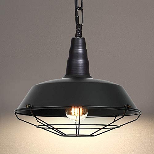 Ganeed Pendant Lighting,Industrial Vintage Black Hanging Ceiling Lamp with Metal Wire Caged Shade,Lighting Fixtures for Kitchen Island, Dining Room, Bar, Restaurant