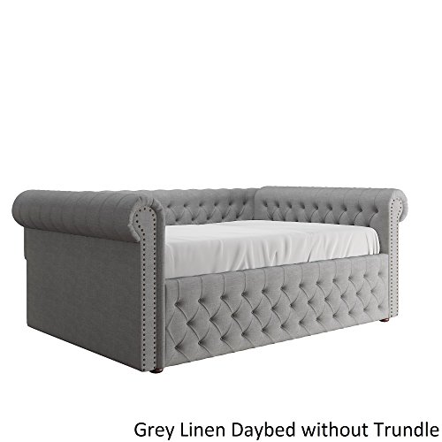Transitional Style Knightsbridge Queen Size Tufted Scroll Arm Chesterfield Daybed Bronze Finish Nail Head Trim (Grey Linen Daybed WITHOUT Trundle)