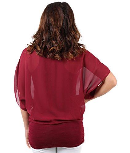 Gasa Elegante 3559 Mujer Granate Blusa Krisp BRwa8EF