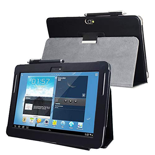 for Samsung Galaxy Note 10.1 (2012 Edition) GT N8013 N8000 Flip case Cover - SCH-I925 Folio Stand Back Book Cover for GT-N8010 N8005 N8020 Tablet pu Leather case (Black) (Best Note 10.1 Case)
