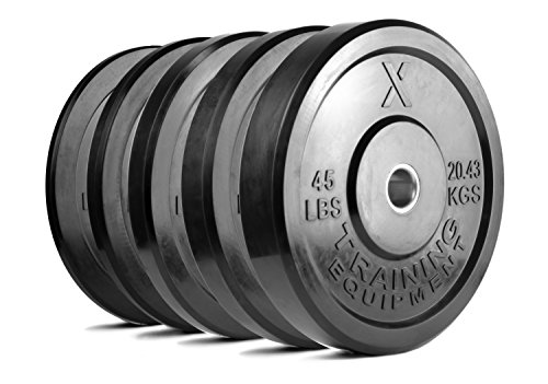 X Training Equipment Premium Black Bumper Plate Solid Rubber with Steel Insert - Great for CrossFit Workouts (Set: 260lb)