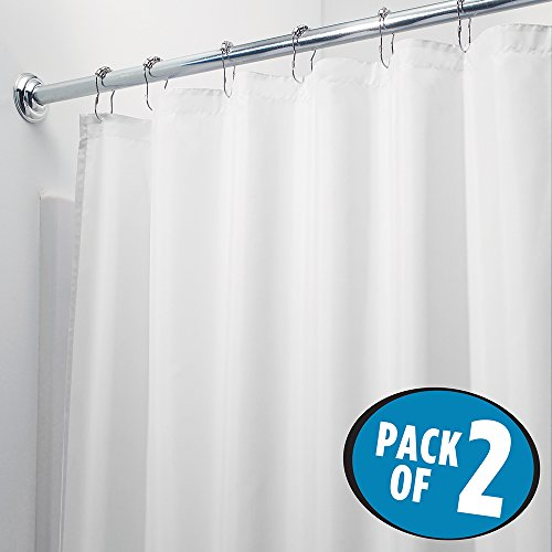 Mdesign Waterproof Mold And Mildew Resistant Fabric Shower Curtain   Pack Of 2  72  X 72   White