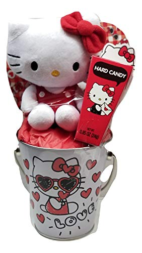 Hello Kitty Valentine's Day Metal Tin Bucket and Hard Candy - 3 Items ()